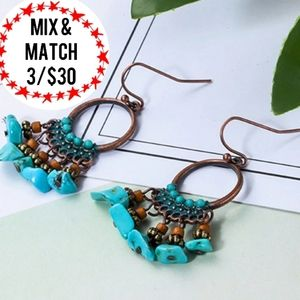 🔹️Turquoise Hanging Dangle Bronze-Tone Earrings